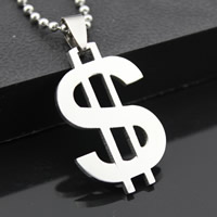 Stainless Steel Pendants, Dollar Sign, original color, 21x33mm, Hole:Approx 3-5mm, Sold By PC