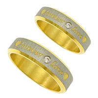 Stainless Steel Finger Ring, word forever love, plated, with heart pattern & different size for choice & brushed & micro pave cubic zirconia & for woman & two tone, Sold By PC