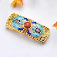 Cloisonne Connector, with Yunnan Red Agate, Rectangle, natural, handmade & multi loops & hollow, 14x38mm, Hole:Approx 2-3mm, Sold By PC