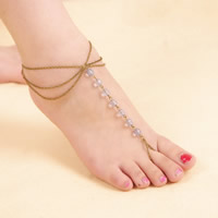 Fashion Toe Anklet, Crystal, with iron chain, with 5cm extender chain, antique bronze color plated, oval chain & 3-strand & faceted, 220mm, Length:Approx 8.5 Inch, Sold By Strand