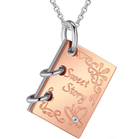 Titanium Steel Jewelry Necklace, Book, plated, oval chain & with letter pattern & with cubic zirconia & two tone, 22x15mm, Length:Approx 17 Inch, Sold By Strand