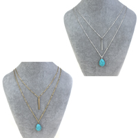 Fashion Multi Layer Necklace, Zinc Alloy, with iron chain & Synthetic Turquoise, with 5cm extender chain, Teardrop, plated, oval chain & 2-strand, more colors for choice, nickel, lead & cadmium free, 15x25x8mm, Length:Approx 22 Inch, Sold By Strand