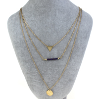Fashion Multi Layer Necklace, Zinc Alloy, with iron chain & Crystal, with 5cm extender chain, Flat Round, gold color plated, oval chain & 3-strand & faceted, nickel, lead & cadmium free, 15x1mm, Length:Approx 16.5 Inch, Sold By Strand