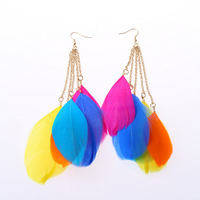 Fashion Feather Earring , Zinc Alloy, with Feather, brass earring hook, gold color plated, multi-colored, 170mm, Sold By Pair