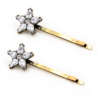 Hair Slide, Zinc Alloy, with Crystal, Star, antique bronze color plated, faceted & with rhinestone, 20x60mm, Sold By PC