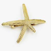 Hair Barrettes, Zinc Alloy, Starfish, gold color plated, 72mm, Sold By PC
