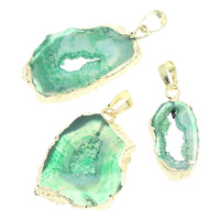 Natural Agate Druzy Pendant, Ice Quartz Agate, with brass bail, gold color plated, druzy style, green, 14x30x4mm-45x59x6mm, Hole:Approx 5x7mm, Sold By PC