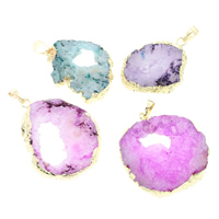 Natural Agate Druzy Pendant, Ice Quartz Agate, with brass bail, gold color plated, druzy style & mixed, 27x37x6mm-37x40x7mm, Hole:Approx 5x7mm, Sold By PC