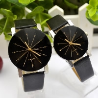 Couple Watch Bracelets, PU, with zinc alloy dial & Glass, Chinese movement, platinum color plated, different styles for choice, black, Sold By PC