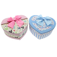 Jewelry Gift Box, Cardboard, with Satin Ribbon, Heart, more colors for choice, 160x140x65mm, 190x170x80mm, 230x220x95mm, 3PCs/Set, Sold By Set