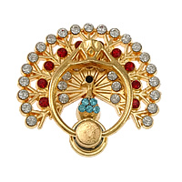 Zinc Alloy Mobile Phone Ring Holder, Peacock, gold color plated, with rhinestone, 45x43x3mm, Sold By PC