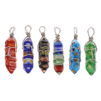 Millefiori Glass Pendants, with Iron, pendulum, platinum color plated, more colors for choice, 12x42x12mm, Hole:Approx 4mm, Sold By PC