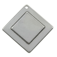 Stainless Steel Pendants, Rhombus, original color, 27x1.5mm, Hole:Approx 1mm, Sold By PC