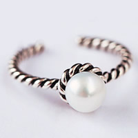 Cultured Freshwater Pearl Finger Ring, Thailand Sterling Silver, with Freshwater Pearl, natural & open, 5mm, US Ring Size:5, Sold By PC