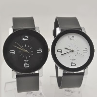 Couple Watch Bracelets, PU, with zinc alloy dial & Glass, platinum color plated, different size for choice & for couple, more colors for choice, Sold By PC