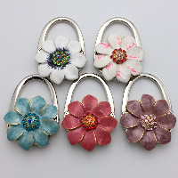 Enamel Bag Hanger, Zinc Alloy, Flower, plated, with rhinestone, more colors for choice, 45x65x20mm, Sold By PC