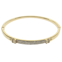 Rhinestone Zinc Alloy Bangle, gold color plated, with rhinestone, lead & cadmium free, 63x5x52mm, Inner Diameter:Approx 61x50mm, Length:Approx 7 Inch, Sold By PC
