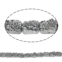 Druzy Beads, Ice Quartz Agate, Rectangle, natural, druzy style, 20x15x9mm, Hole:Approx 1mm, Length:Approx 7.5 Inch, Approx 10PCs/Strand, Sold By Strand