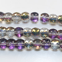 Fashion Crystal Beads, Drum, half-plated, faceted, 6x8mm, Hole:Approx 1mm, Length:Approx 10 Inch, Approx 40PCs/Strand, Sold By Strand