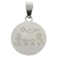 Stainless Steel Pendants, Flat Round, original color, 20x24x1.5mm, Hole:Approx 4x7mm, Sold By PC