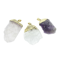 Natural Quartz Pendants, with iron bail, Nuggets, gold color plated, different materials for choice, 27x44x13mm-34x55x9mm, Hole:Approx 4x6mm, Sold By PC