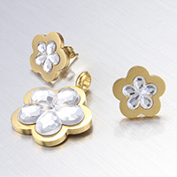 Stainless Steel Jewelry Sets, pendant & earring, with Glass, Flower, gold color plated, faceted, 19x25x4mm, 13x13x2mm, Hole:Approx 4mm, Sold By Set