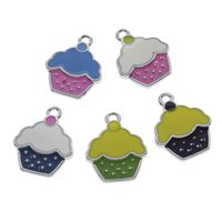 Zinc Alloy Food Pendant, Cake, platinum color plated, enamel, more colors for choice, lead & cadmium free, 20x25x3mm, Hole:Approx 2mm, Sold By PC