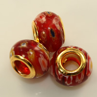 Murano Millefiori Lampwork European Bead, Drum, gold color plated, brass double core without troll, more colors for choice, 8x12mm, Hole:Approx 5mm, Sold By PC