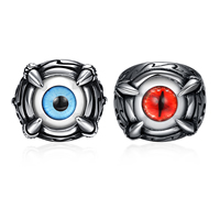 Favourer® Finger Ring, Stainless Steel, with Resin, pupil eye design & different size for choice & different styles for choice & blacken, Sold By PC