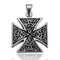 Stainless Steel Cross Pendants, blacken, 35.5x42.5x4mm, Hole:Approx 6.5x10.5mm, Sold By PC