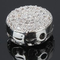 Cubic Zirconia Micro Pave Brass European Bead, Flat Round, platinum plated, micro pave cubic zirconia & hollow, 11.5x11.5x5.5mm, Hole:Approx 1mm, Sold By PC