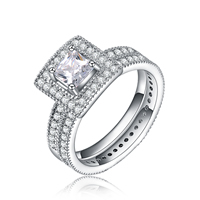 Brass Ring Set, Square, platinum plated, different size for choice & micro pave cubic zirconia, 10x10mm, 2PCs/Set, Sold By Set