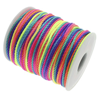 Polyester Cord, with plastic spool, mixed colors, 1mm, 50m/Spool, Sold By Spool