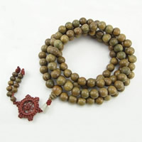 108 Mala Beads, Green Sandalwood, Buddhist jewelry, 8mm, 4x5mm, Length:Approx 34 Inch, Approx 108PCs/Strand, Sold By Strand