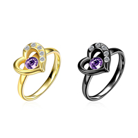 comeon® Finger Ring, Stainless Steel, Heart, plated, different size for choice & with cubic zirconia, more colors for choice, 11x22mm, Sold By PC