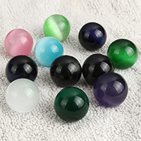 No Hole Cats Eye beads, Round, mixed colors, 19-20mm, Sold By PC