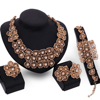 Rhinestone Zinc Alloy Jewelry Set, finger ring & bracelet & earring & necklace, stainless steel earring post and Omega clip, with 5cm extender chain, Flower, rose gold color plated, with rhinestone, lead & cadmium free, 41mm, 80mm, US Ring Size:6-9, Length:Approx 7 Inch, Approx  17.5 Inch, Sold By Set