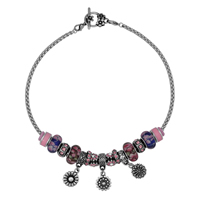 European Match Necklace, 316L Stainless Steel, with Lampwork, Flower, different length for choice & box chain & enamel & with rhinestone & blacken, 400-500mm, Sold By Strand