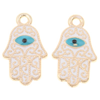 Zinc Alloy Hamsa Pendants, Evil Eye Hamsa, gold color plated, Islamic jewelry & enamel, lead & cadmium free, 12x21x1.5mm, Hole:Approx 1mm, Sold By PC