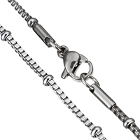 Stainless Steel Chain Necklace, plated, box chain, more colors for choice, 3mm, 1.5mm, Length:Approx 19 Inch, Sold By Strand