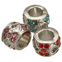 Rhinestone Zinc Alloy European Beads, Drum, platinum color plated, without troll & with rhinestone, more colors for choice, 10x7x10mm, Hole:Approx 5mm, Sold By PC