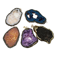 Natural Agate Druzy Pendant, Ice Quartz Agate, with Rhinestone Clay Pave & Brass, plated, druzy style & mixed, 42-49x65-73x9-11mm, Hole:Approx 5x7mm, Sold By PC