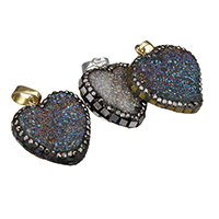 Natural Agate Druzy Pendant, Ice Quartz Agate, with Rhinestone Clay Pave & Abalone Shell & Brass, plated, druzy style & mixed, 20-24x24-26x6-8mm, Hole:Approx 5x7mm, Sold By PC