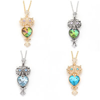 Zinc Alloy Sweater Chain Necklace, with iron chain & Crystal, with 5cm extender chain, Owl, plated, rope chain & faceted & with rhinestone, more colors for choice, lead & cadmium free, 24x65mm, Length:Approx 29 Inch, Sold By Strand