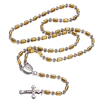 Rosary Necklace, Stainless Steel, Crucifix Cross, plated, Christian Jewelry & ball chain & two tone, 4mm, 8.2x4mm, 13.5x18x1.5mm, 17.5x30x2.5mm, Length:Approx 25 Inch, Sold By Strand