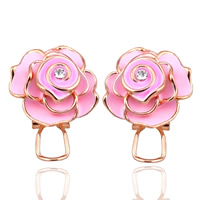 Enamel Zinc Alloy Stud Earring, stainless steel earring post and Omega clip, Flower, rose gold color plated, with rhinestone, pink, lead & cadmium free, 20mm, Sold By Pair