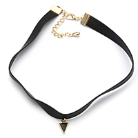PU Choker Necklace, with Brass, with 2.5lnch extender chain, Triangle, gold color plated, enamel, 8x12x2mm, 9.5mm, Length:Approx 12 Inch, Sold By Strand