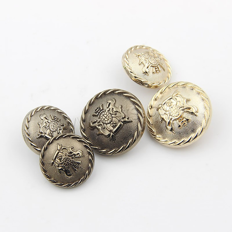 Zinc alloy shank button flat round plated for Buttons with shanks for jewelry