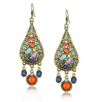 Resin Zinc Alloy Earring, with Resin, stainless steel earring hook, Teardrop, antique bronze color plated, 27x71mm, Sold By Pair