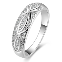 comeon® Finger Ring, Brass, real silver plated, micro pave cubic zirconia, US Ring Size:8, Sold By PC